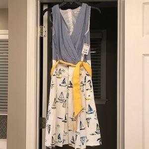 Crossbody dress with sailboat print